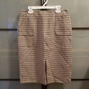 J CREW skirt, tan & black, size 4